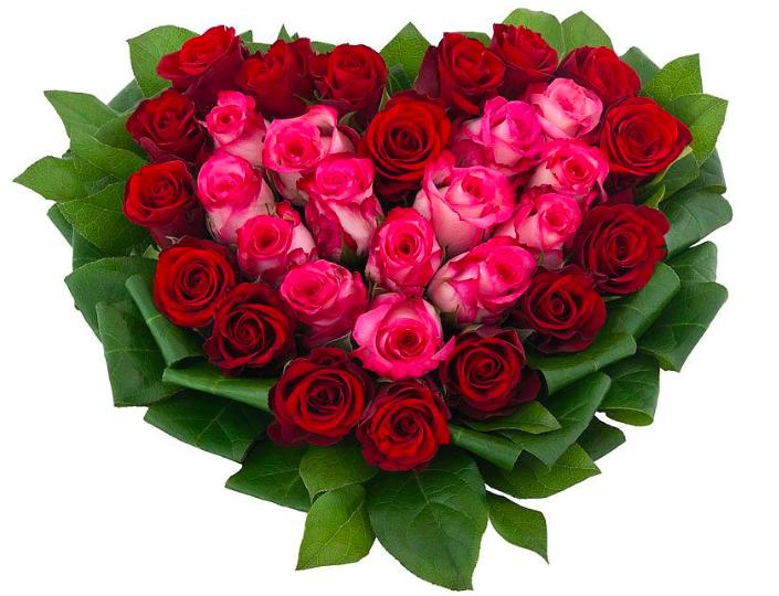 Букет сердце из роз.