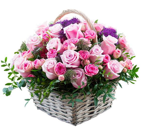 Корзина цветов с днем рождения, букеты цветов в корзине с доставкой.