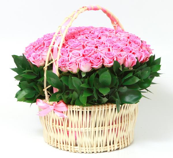 Букет роз в корзине, корзина роз