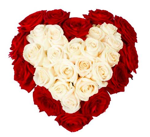 Купить букет роз в виде сердца.
