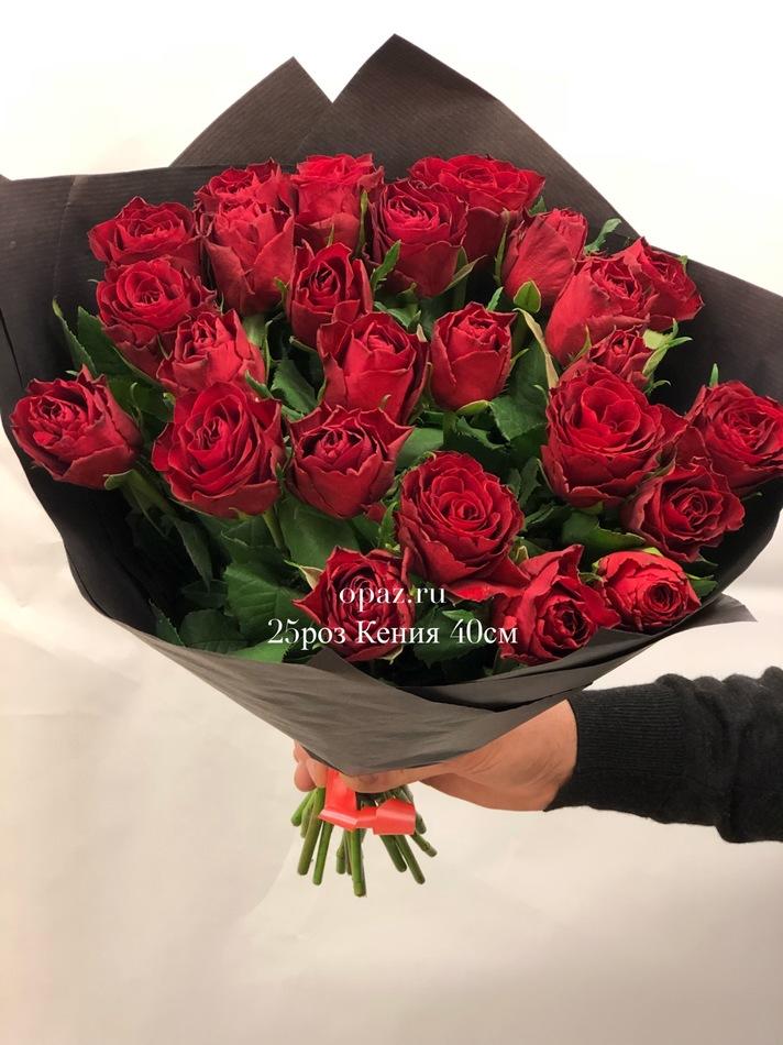 букет 25 красных роз 40 см