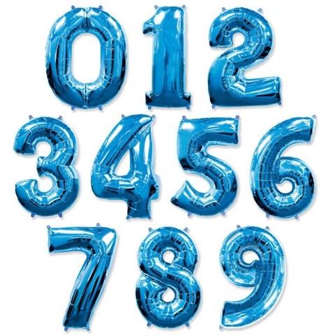 Шар цифра синяя 1м.