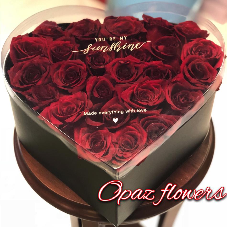 25 роз в шляпной  коробке шк5