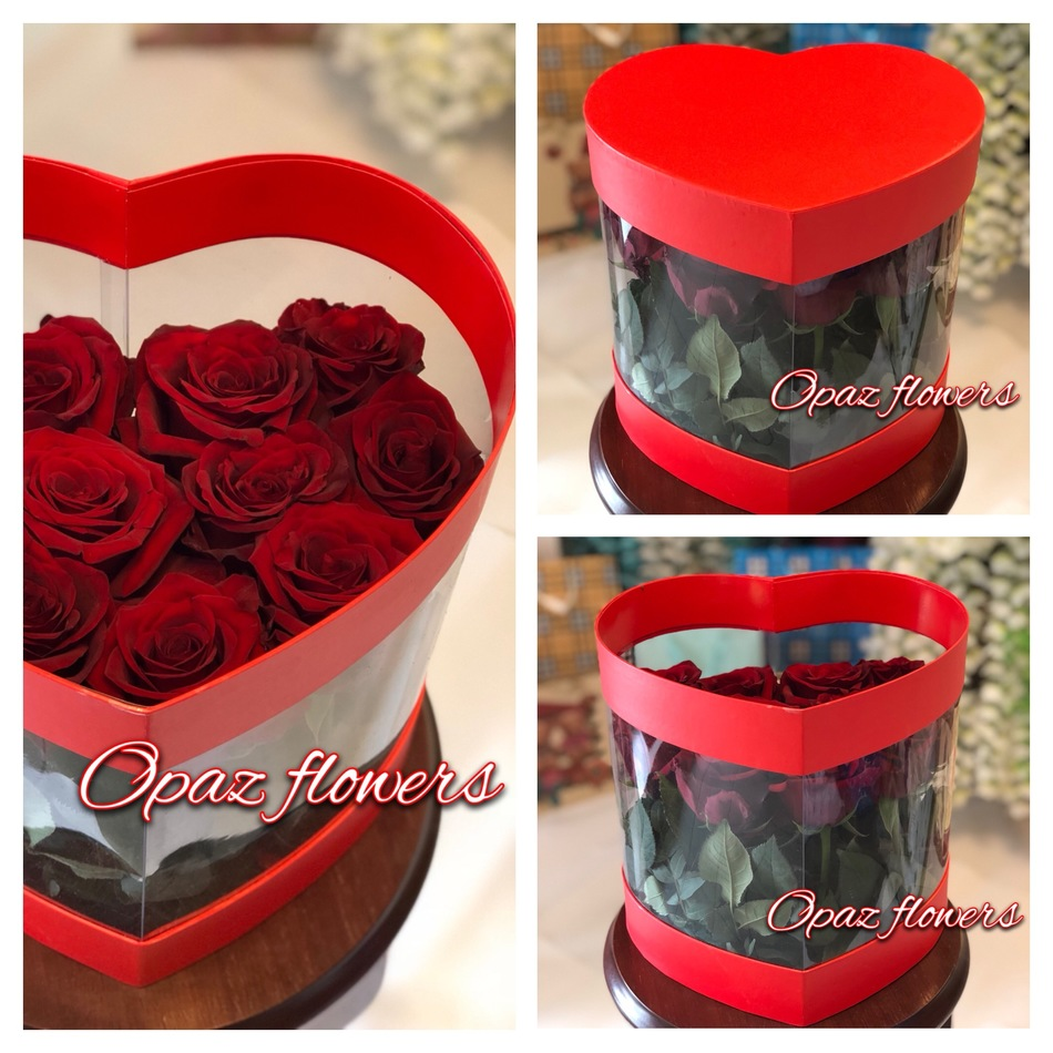 Шляпная коробка красная 15 роз