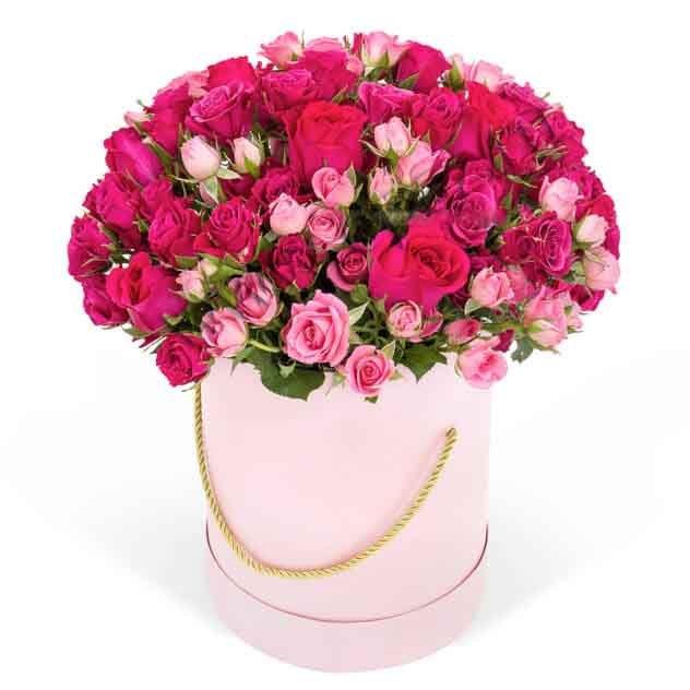 Ш-004 Кустовая роза 25шт в шляпной коробке.