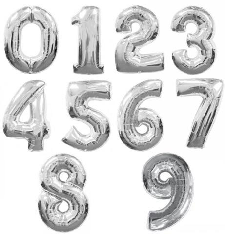 Шар цифра  серебро 1м.