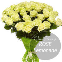 """Букет из 25 роз Эквадор Premium """"Лимонад"""" 70 см"""