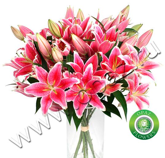№ Л-126 Ярко-розовые лилии. Цена за штуку.