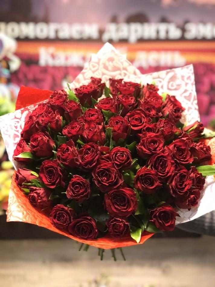 51 красная роза Кения 40см