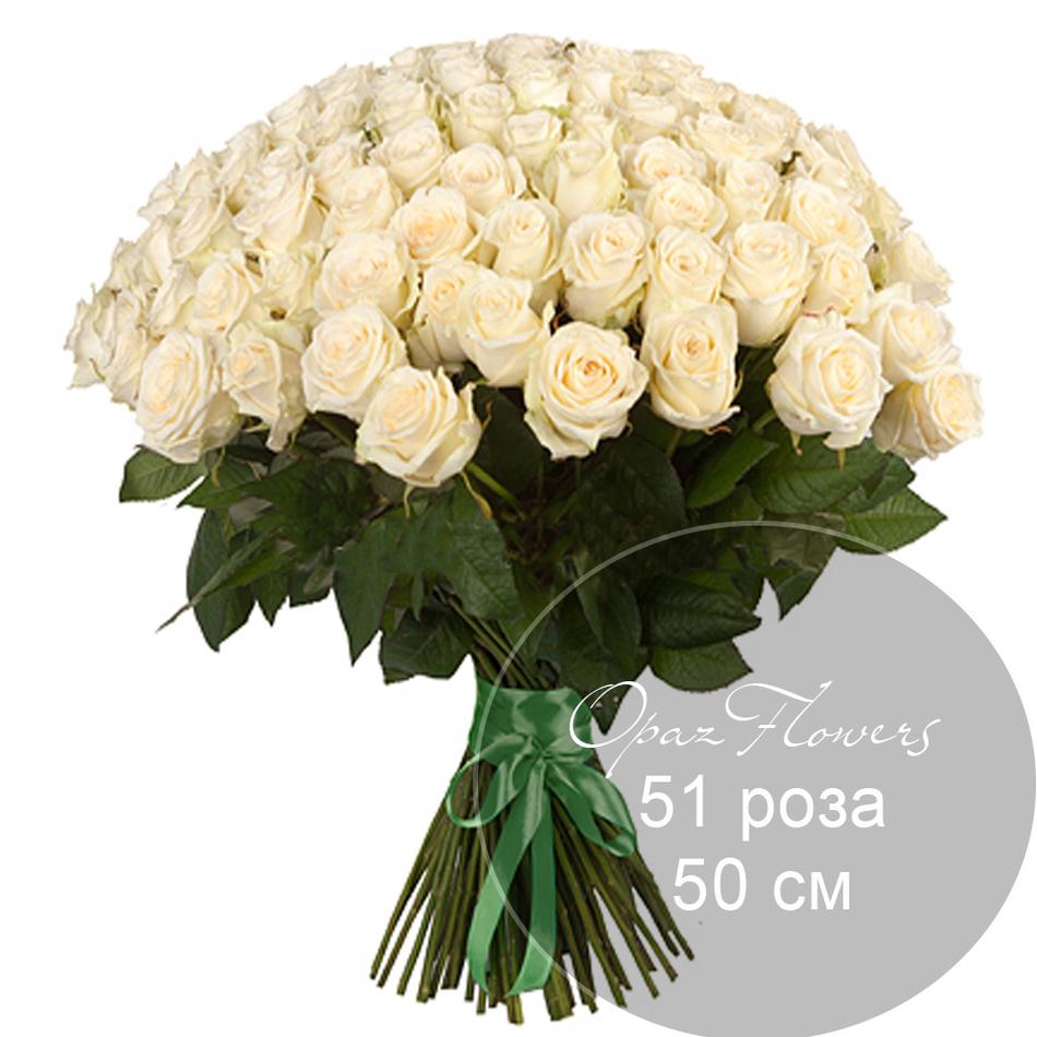 51 белая роза 50 см