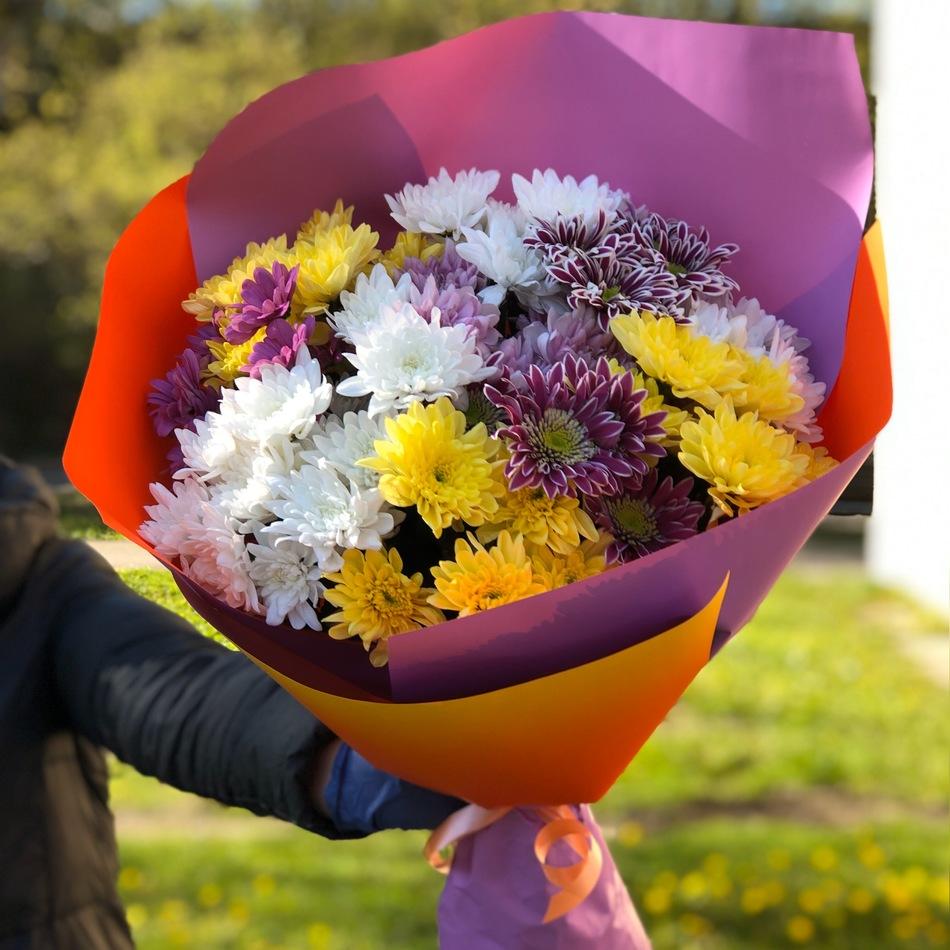 Букет хризантема микс в оформлении № ВС 015
