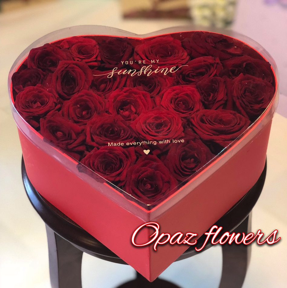25 роз в шляпной  коробке шк2