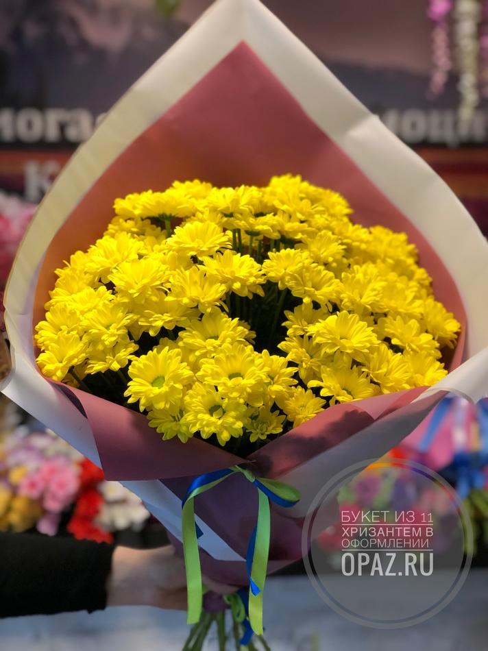 Букет из 11 желтых кустовых хризантем в оформлении № Х-016