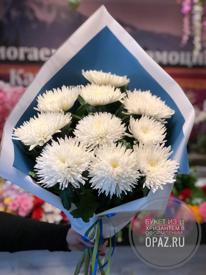 Букет из 11 белых хризантем в оформлении № Х-019