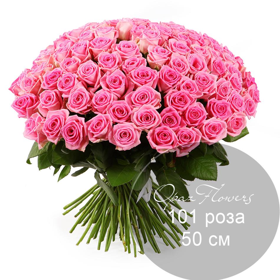 101 розовая  роза 50 см под ленту