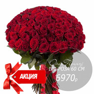 101 красная роза 60 см под ленту
