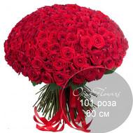 101 красная роза 80 см под ленту