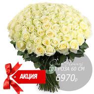 Букет из 101 белой розы 60 см