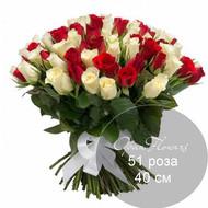 51 бело-красная роза 40 см