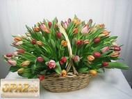 № A-1105 В основу корзины входит 101 тюльпан.