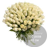 101 белая  роза 40 см под ленту