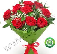 № Р-840 Букет состоит из: - роза 11 шт., длина 50 см. , рускус , гипсофила