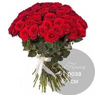 51 красная роза 60 см под ленту