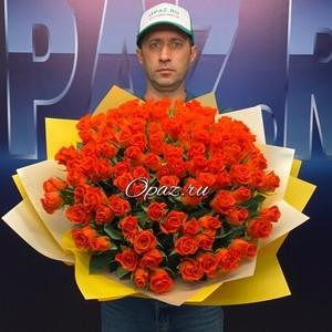 101 роза Premium 40см в оформлении №РС-058