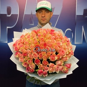 101 роза Голландия Premium в оформлении №РС-060 Роза 50см
