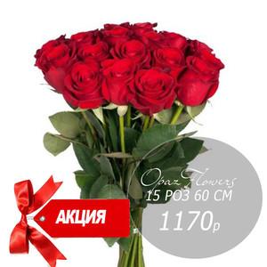15 красных роз 60 см