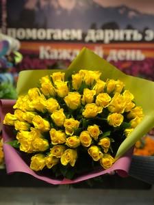 51 желтая роза Кения 40 см