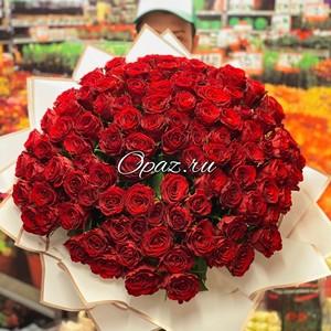 101 роза Голландия Premium в оформлении №РС-130 Роза 50см