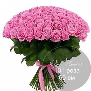 Букет 101 розовая роза 60 см