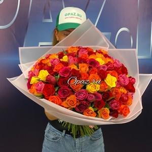 101 роза 40см Premium №РС-133 в оформлении.
