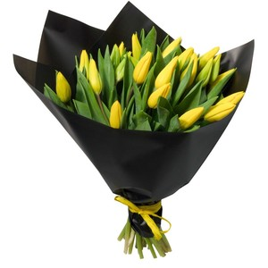 т-053 Букет желтых тюльпанов 25 шт. в упаковке
