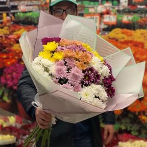 Букет 15 хризантем в оформлении № Х-061