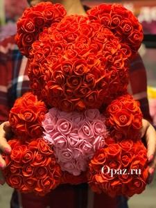 Мишка Красный Розовое сердце