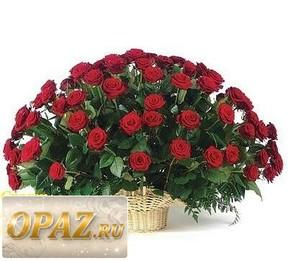 № A-1111 В основу корзины входит 101 роза.
