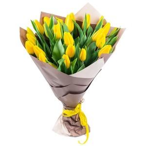 Букет желтых тюльпанов 25 шт. в упаковке