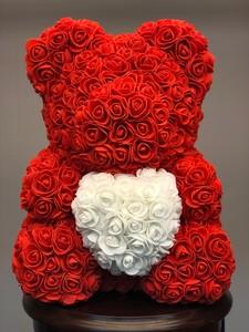 Мишка из роз красный 40см в подарочной коробке № М005