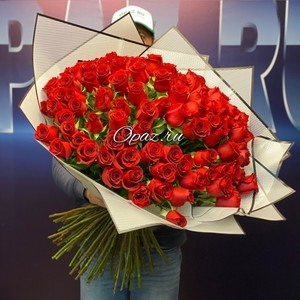 101 роза Голландия Premium 70см №РС-135 Роза оформлении