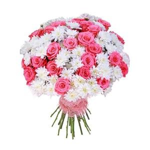 Н-026 Букет 25 роз 16 куст хризантем в оформлении