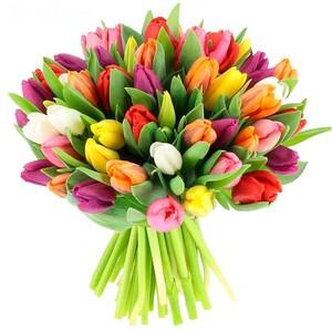 Букет тюльпанов микс 37 шт. в оформлении лента