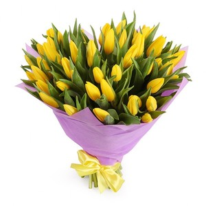 Букет желтых тюльпанов 51 шт. в упаковке