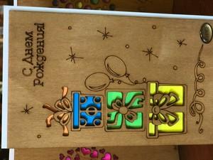 Деревянная открытка коробочки