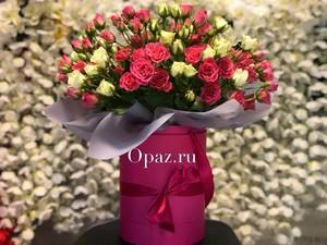 Шляпная коробка розовая 25 кустовых роз