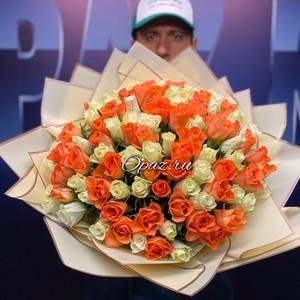 101 роза Premium 40см в оформлении №РС-091