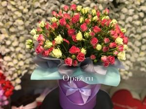 Шляпная коробка фиолетовая 25 кустовых роз