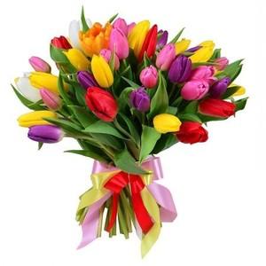 Букет тюльпанов микс 31 шт. в оформлении лента