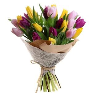 Букет тюльпанов микс 25 шт. в упаковке